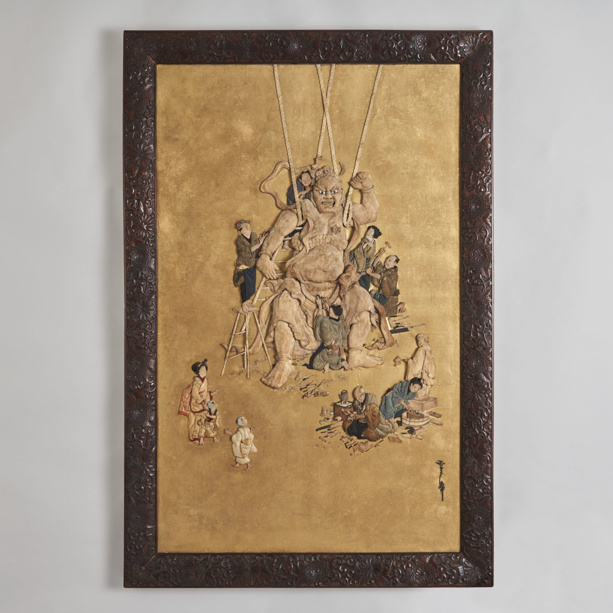 Oshie silk   A magnificent large scale Oshi-e depicting craftsmen and women carving a giant Nio statue