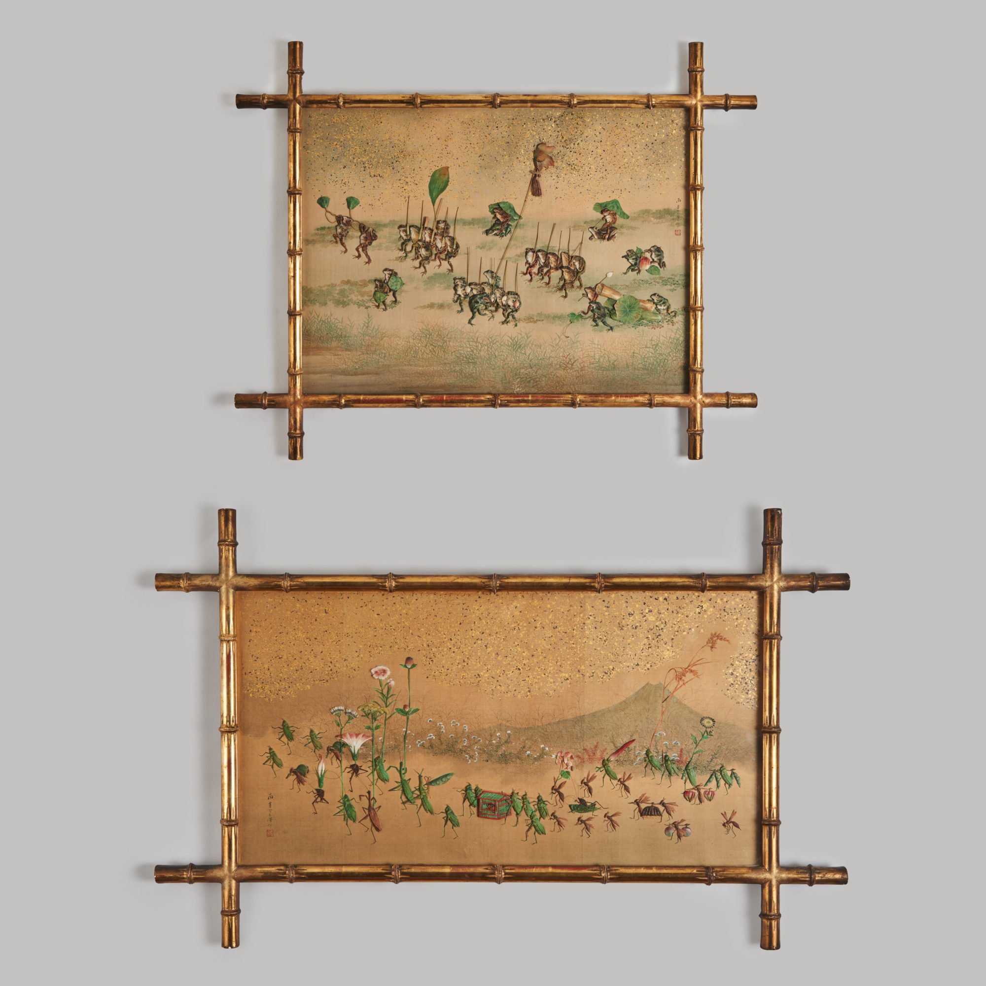 Oshie panels   A fascinating pair of Japanese Oshi-e panels depicting processions of frogs and insects