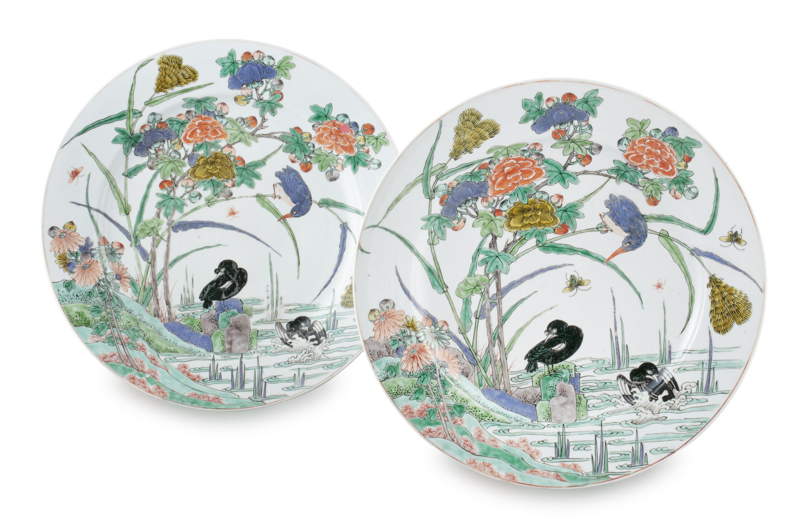A PAIR OF FAMILLE VERTE 'FLYCATCHER' DISHES, CHINA, QING DYNASTY, KANGXI PERIOD
