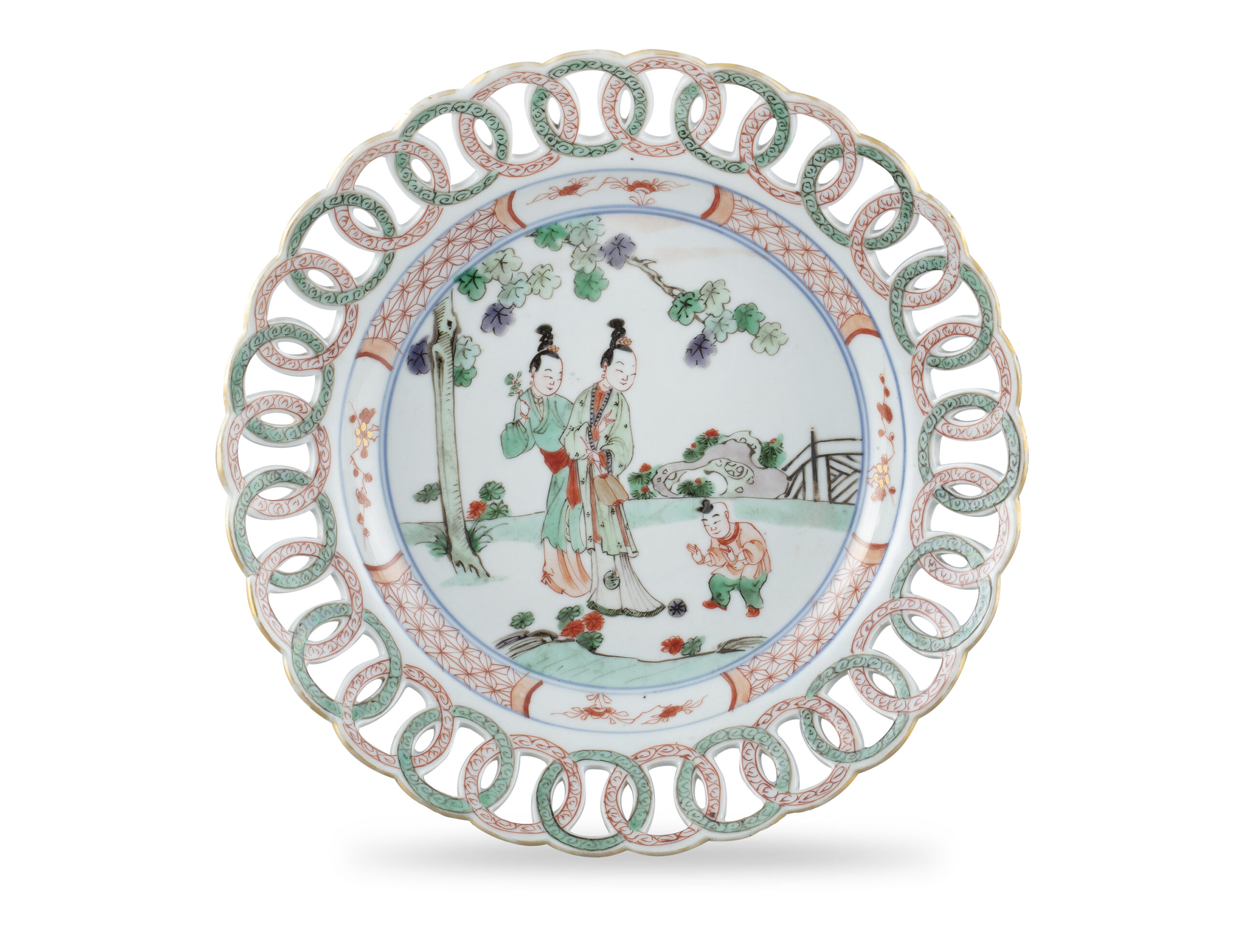 A FAMILLE VERTE RETICULATED WING DISH, CHINA, QING DYNASTY, KANGXI PERIOD