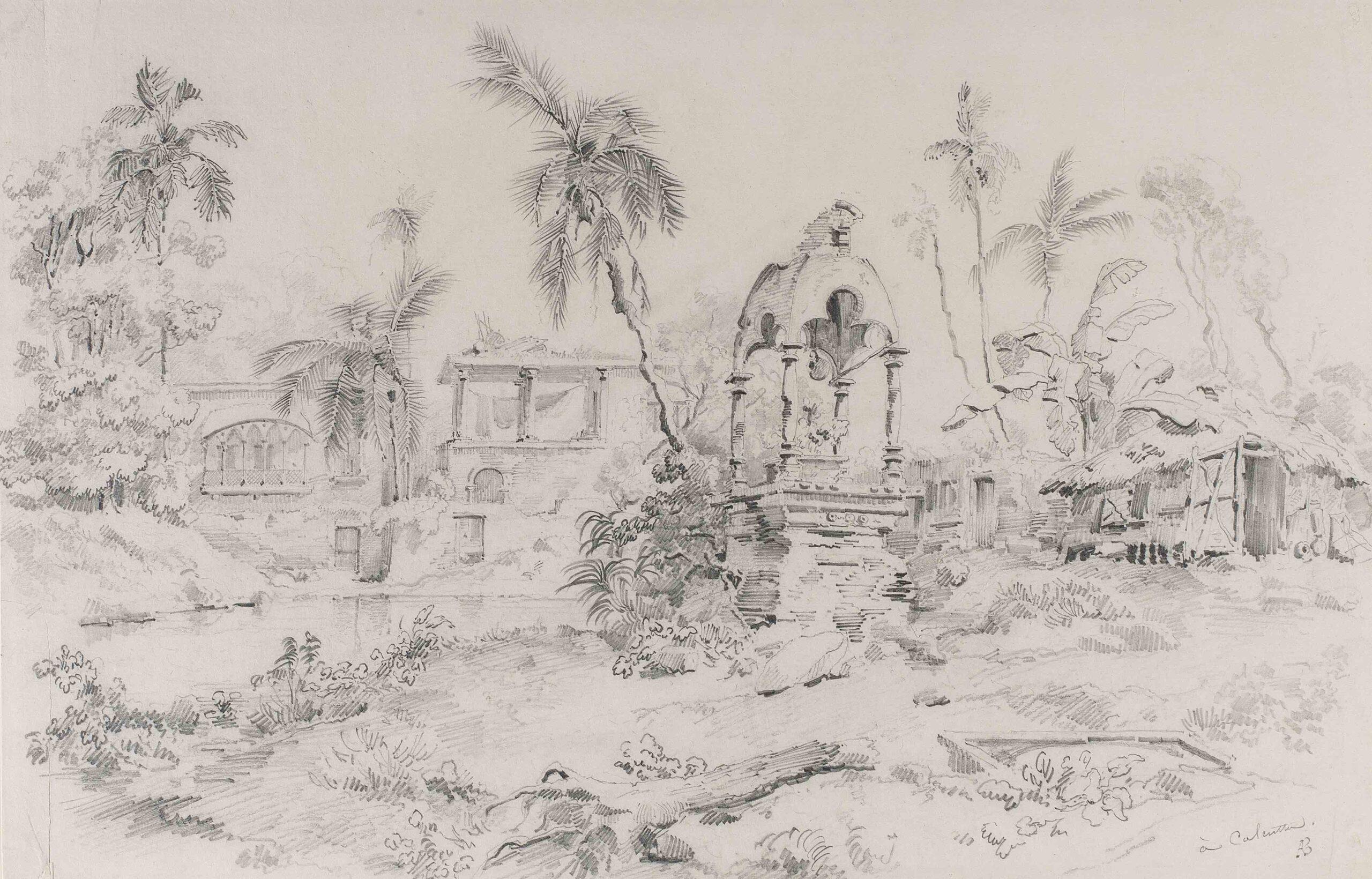 Auguste Borget (1809 - 1877) Ruined buildings near Calcutta (Kolkata) Pencil, 11 3/4 x 18 1/4 in (29.8 x 46.4 cm) Signed 'AB' and inscribed 'Calcutta)