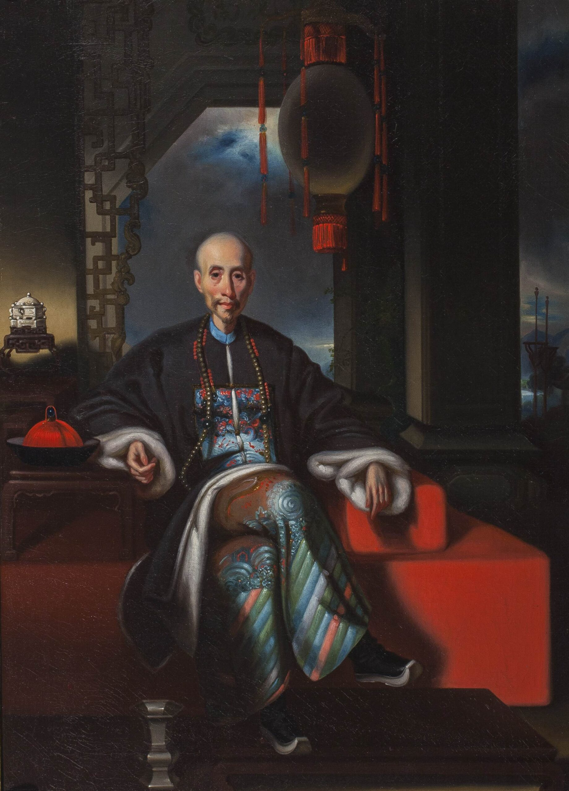 Lamqua or studio c. 1850 | Portrait of the 'hong merchant' Howqua | Oil on canvas, 25 x 19 1/4 in (63.5 x 48.8 cm)