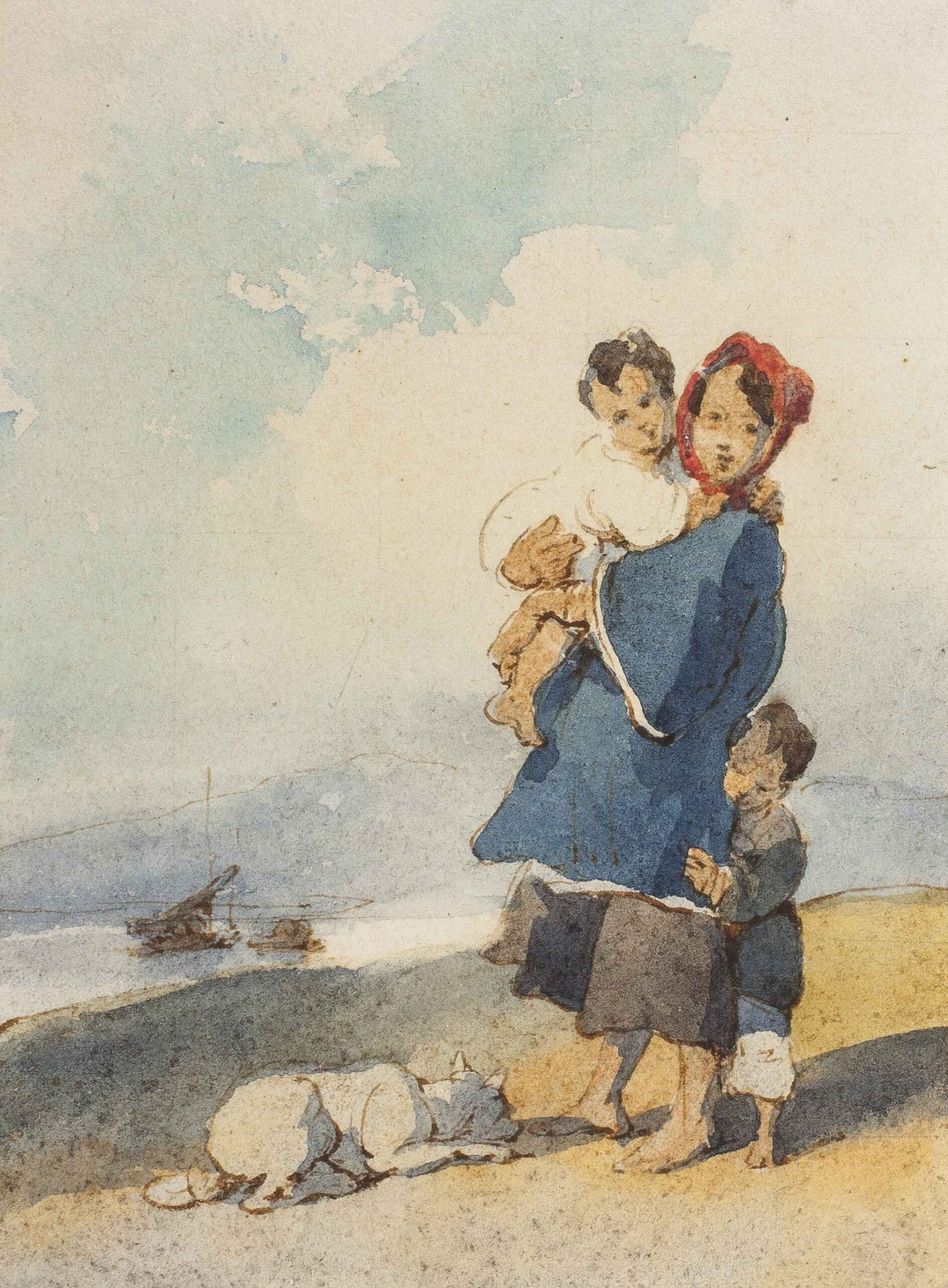 George Chinnery (1774 - 1852) A boatwoman and her children, Macau | Pen and ink and watercolour, 6 x 4 1/4 in (15.2 x 10.7 cm)