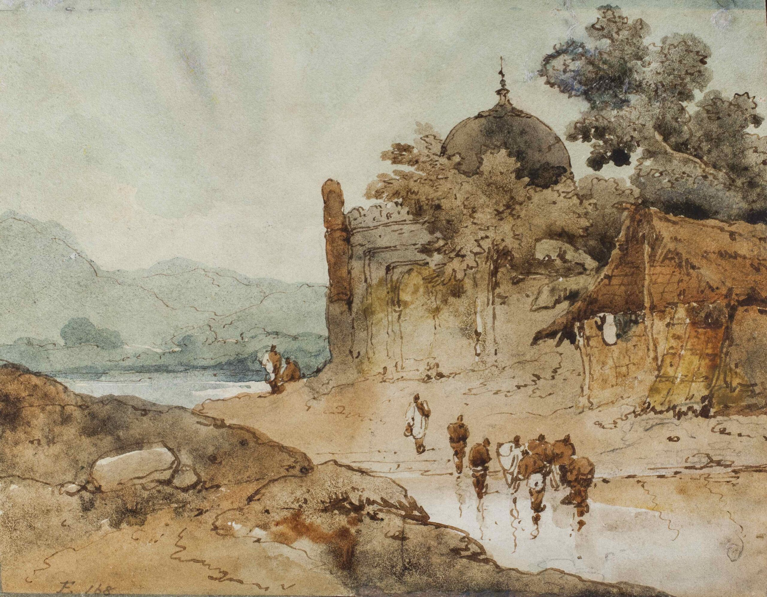 George Chinnery (1772 - 1852) Ruined Temple in a landscape Watercolour, 5 x 8 in (12.7 x 20.3 cm)