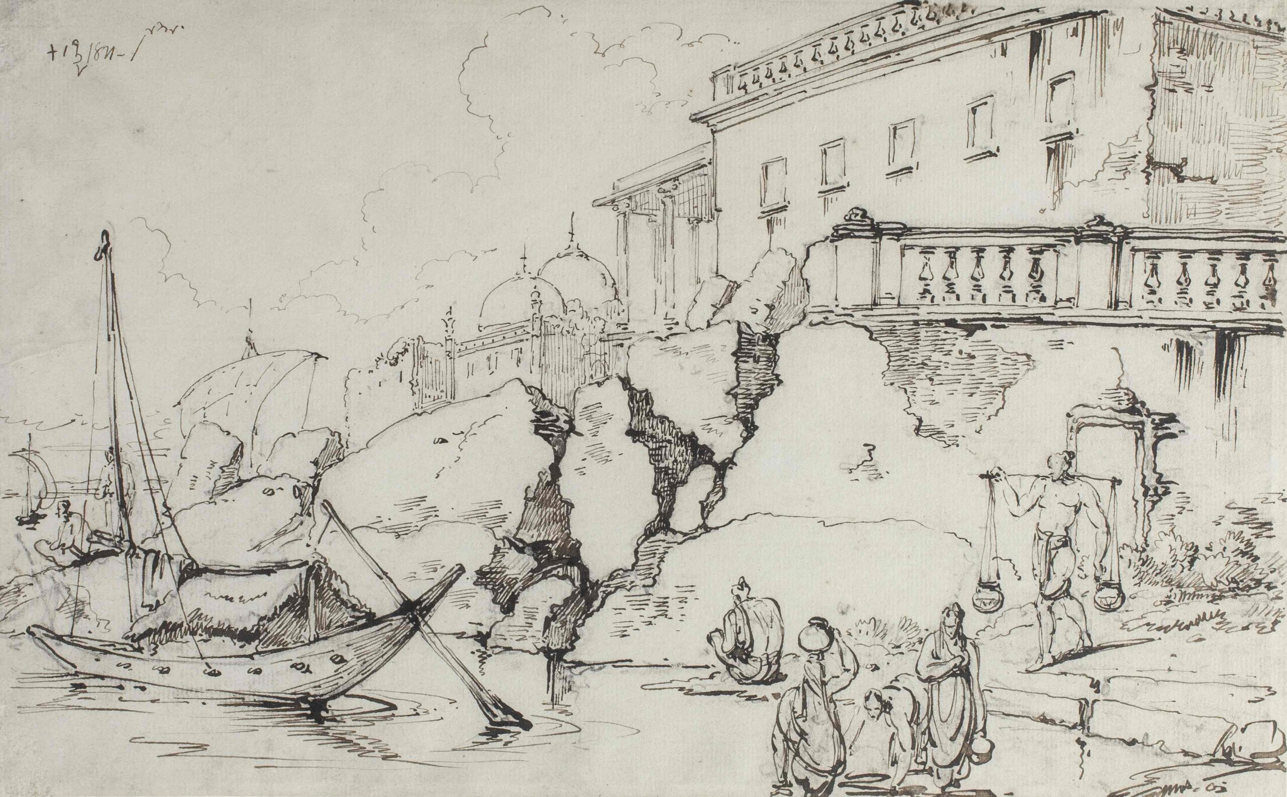 George Chinnery (1774 - 1852) Buildings along the river Hugli at Serampur (Serampore) Pencil, pen and ink, 7 3/4 x 12 1/4 in (19.7 x 31 cm)