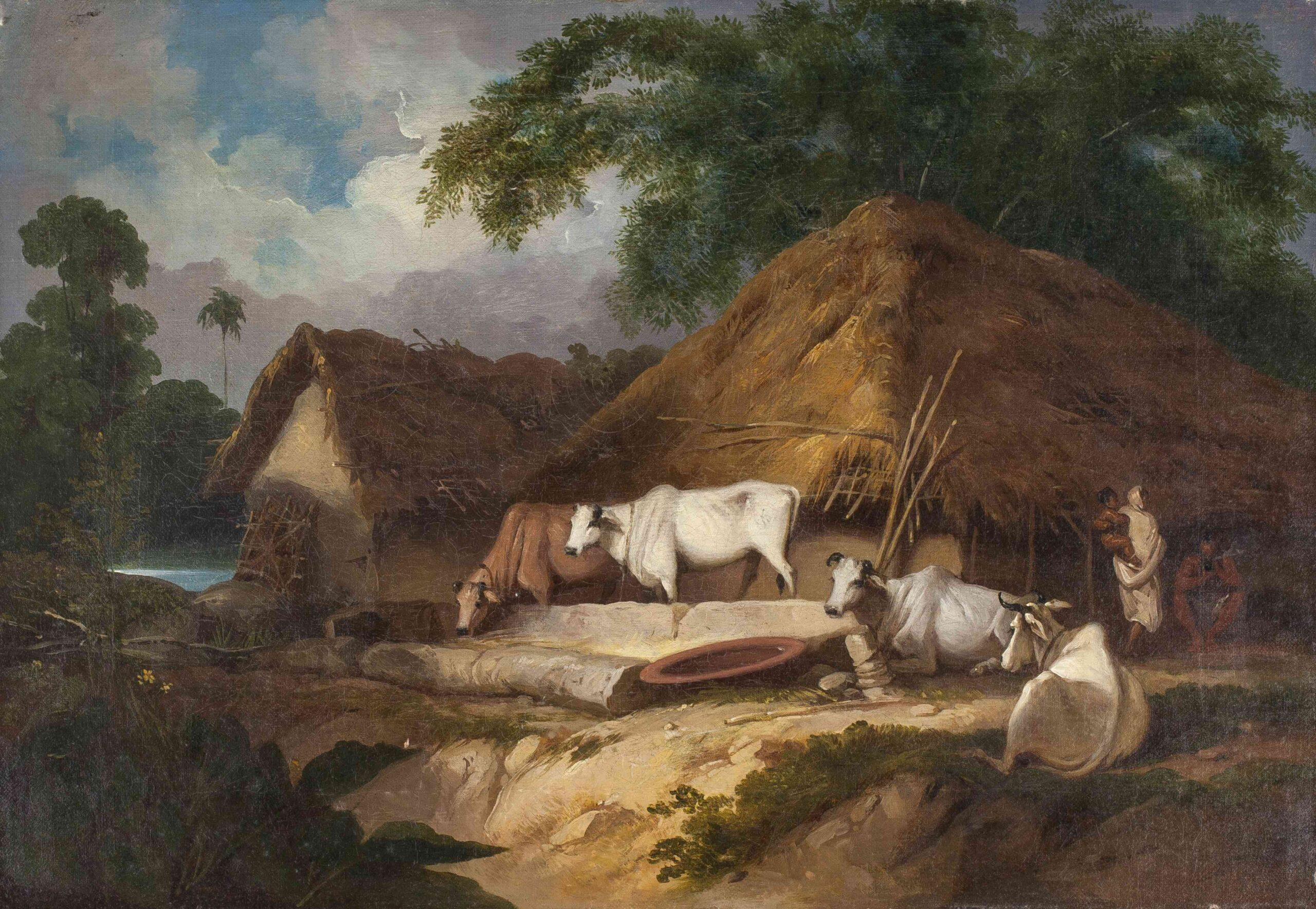George Chinnery (1774 - 1852) Bengal village scene with cattle | Oil on canvas, 15 x 22 in (38 x 55.8 cm)