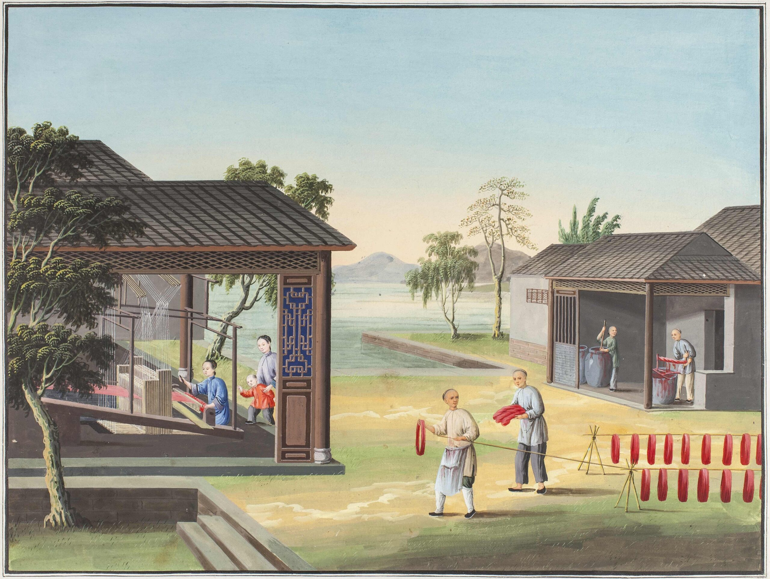 Chinese artist, c. 1800 a set of eleven scenes illustrating the production of silk: Cutting the finished cloth Gouache, each 13 1/4 x 17 3/4 in (33.5 x 45 cm)
