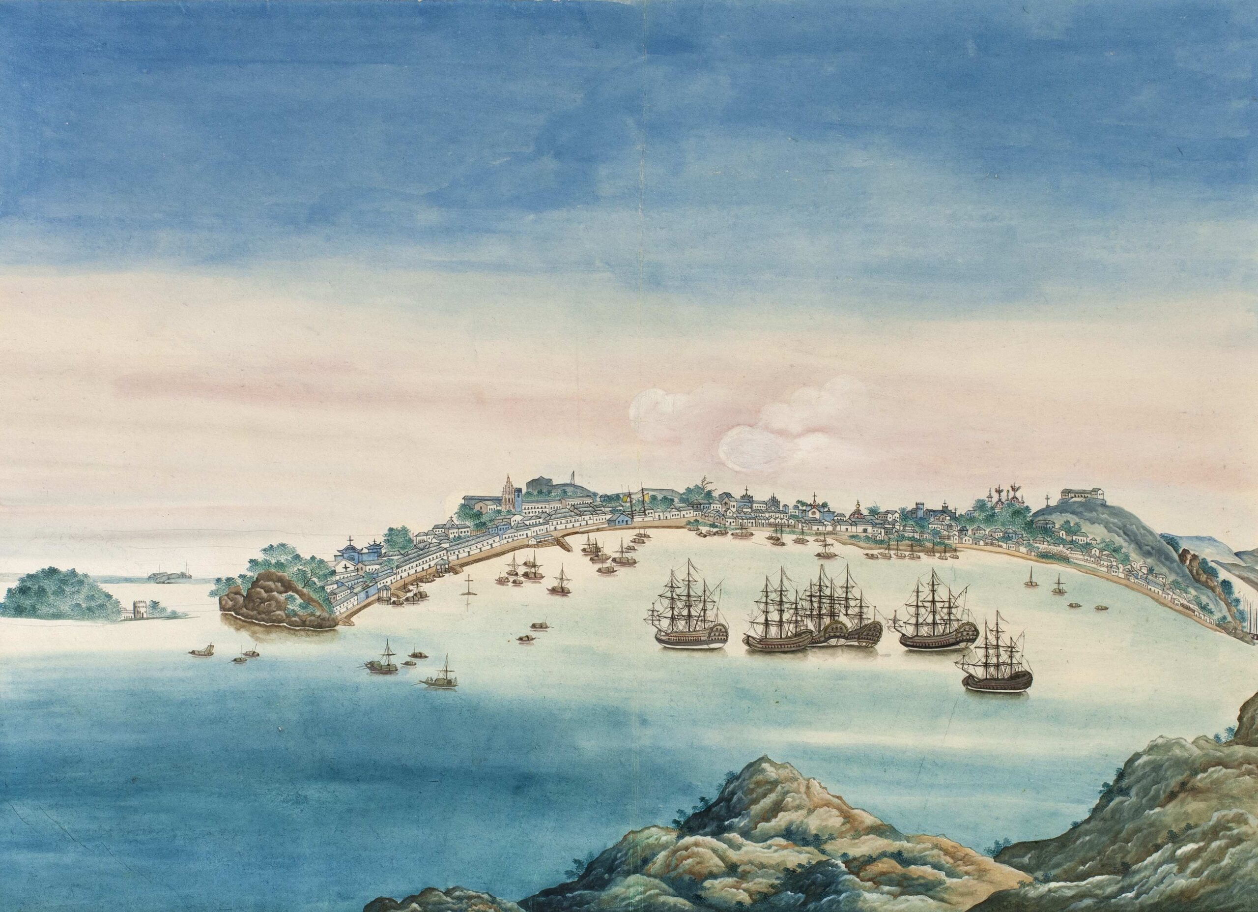 Chinese artist, c. 1770 Macau: the inner harbour Gouache, 15 3/4 x 22 1/2 in (40 x 56.6 cm)