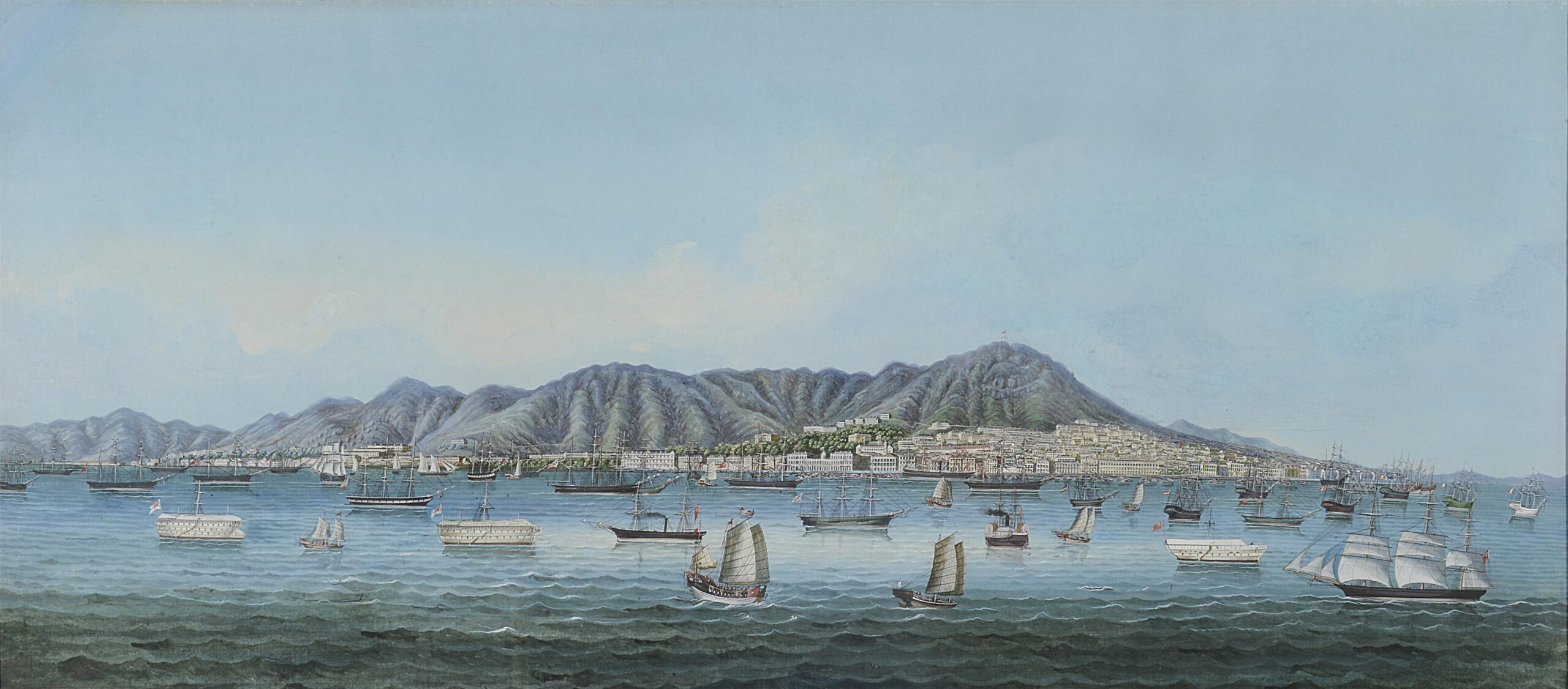 Chinese school, circa 1865 Hong Kong Island: a panoramic view watercolour and bodycolour heightened with white 19 x 42 3/4 (48.2 x 106.8 cm)