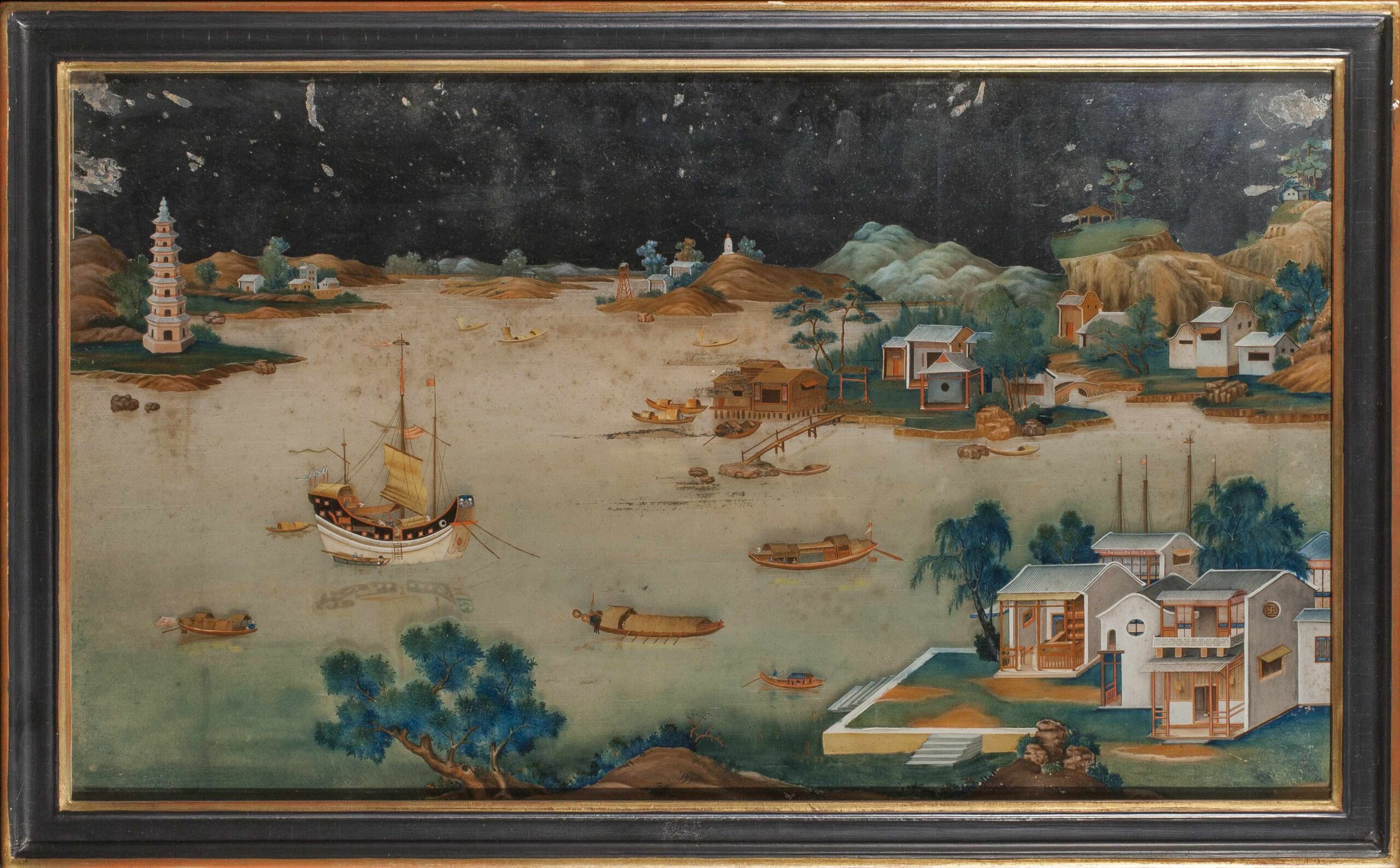 Chinese school, late 18th century One of a pair of 'reverse glass' river scenes Oil on partly silvered glass, 17 1/2 x 29 3/4 in (44.5 x 75.5 cm)