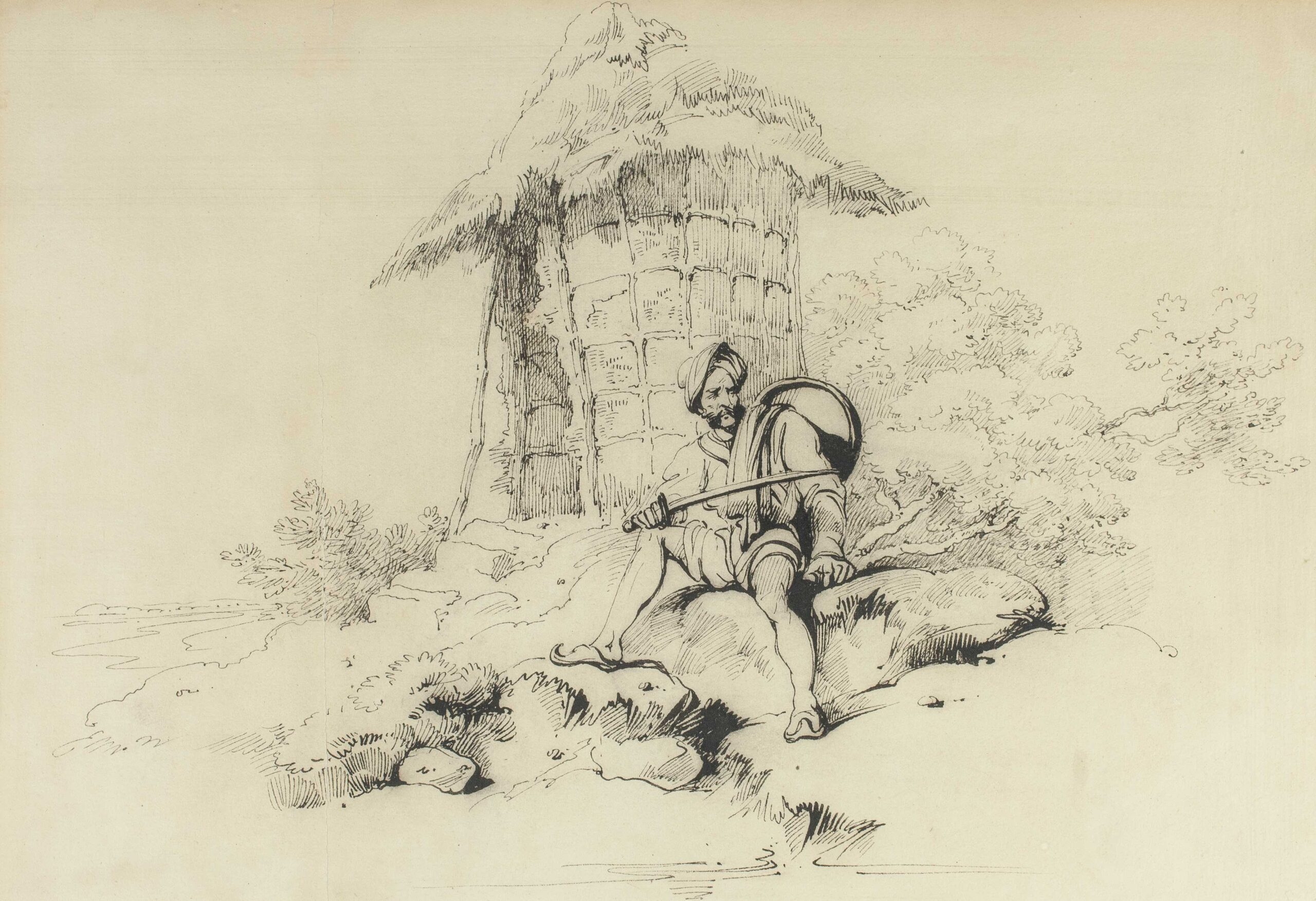 George Chinnery (1774 - 1852) Chowkidar (village watchman) Bengal Pen and ink, 8 1/4 x 12 in (21 x 30.5 cm)